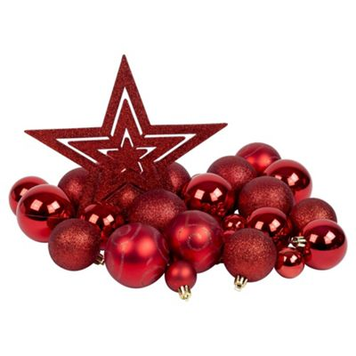 Red 50pc Shatterproof Christmas Tree Decoration Set Christmas Tree Ornaments