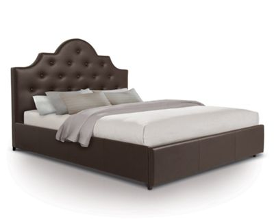 Diamante Front Draw Bed Upholstered in Faux Leather - Double - Brown