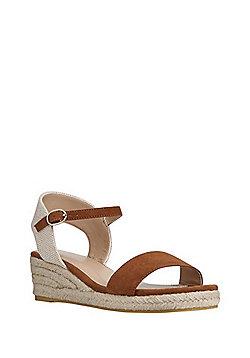 F&F Low Wedge Espadrille Sandals - Tan