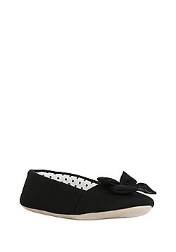 F&F Chiffon Bow Ballerina Slippers - Black