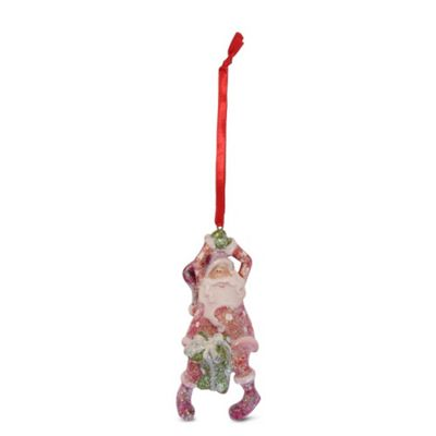 Dangling Father Christmas Hanging Tree Decoration with Glitter Finish - Design A