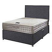 Happy Beds Bamboo Vitality 2000 Mattress Divan Bed Set Plain Headboard Charcoal