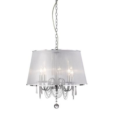 new 5 light ceiling, white shade with dressing & clear glass deco