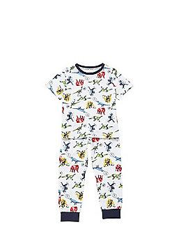 F&F Dinosaur Print Pyjamas - White