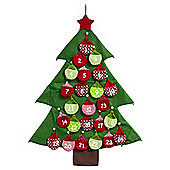 Large Fabric Christmas Tree Advent Calendar with Numbered Bauble Pockets