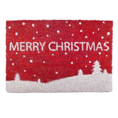 Snowy Scene 'Merry Christmas' Coir Door Mat