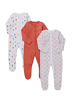 F&F 3 Pack of Woodland Print and Floral Sleepsuits - Multi