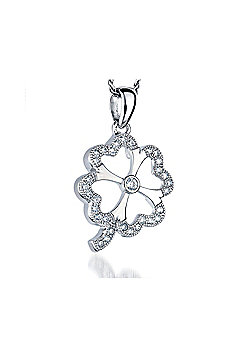 REAL Effect Rhodium Plated Sterling Silver White Cubic Zirconia Clover Charm Pendant - 16/18 inch