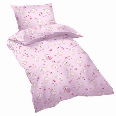 Cot Bed Duvet Cover Sets 100% Cotton - Pink Kittens