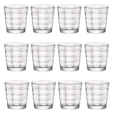 Bormioli Rocco Cube Clear Glass Drinking Tumblers - 240ml - Pack of 12
