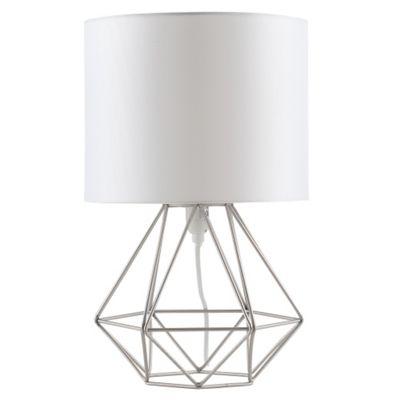 Exceptional Angus Geometric Satin Nickel Base Table Lamp U0026 White
