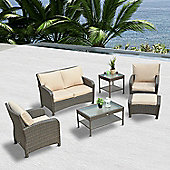 outsunny 6pc rattan garden sofa set ottoman patio furniture brown