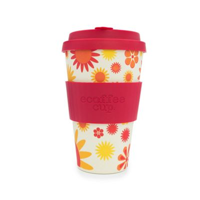 Ecoffee Cup Happy Silicone Cup, 14 oz/400 ml (Red)