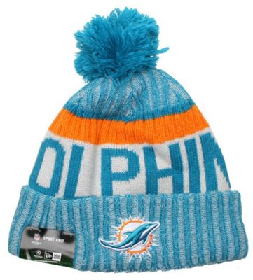 26753f2d4cb ... spain new era cap co nfl sideline bobble knit 2017 beanie miami  dolphins d9698 75dd8