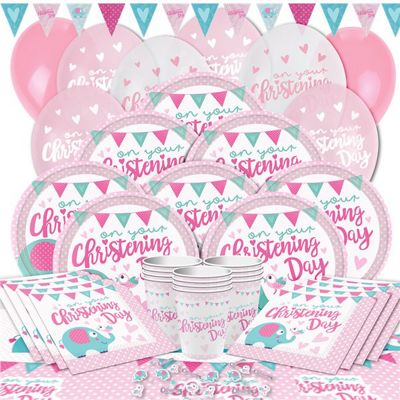 Christening Day Pink Party Pack - Deluxe Pack for 16