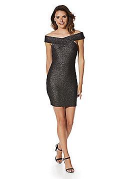 AX Paris Shimmer Bardot Dress - Black shimmer