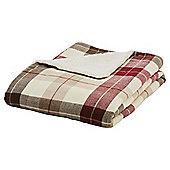 Tesco Check Sherpa Back Throw Red