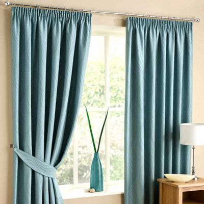 Homescapes Duck Egg Blue Lined Curtain Pair Swirl Design 46x72
