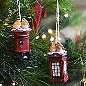 Set of 2 Robins on Postbox & Telephone Box Christmas Tree Decorations