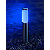 Auraglow IP44 Stainless Steel Outdoor Garden Post Light - Blue - Rushmoor