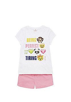 Emoji Slogan Pyjamas - White