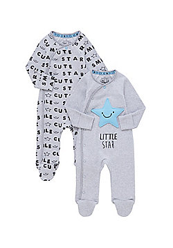 F&F 2 Pack of Star Print All in Ones - Grey marl