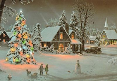 Christmas Tree Scene LED Light Up Canvas