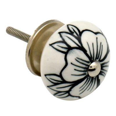 Ceramic Cupboard Drawer Knob - Floral Design - Flower Bud