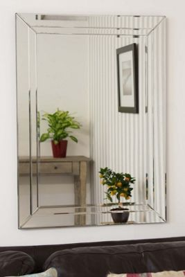 Large Modern Venetian Glass Double Edged Wall Mirror 2Ft3 X 3Ft3 (70cm X 100cm)