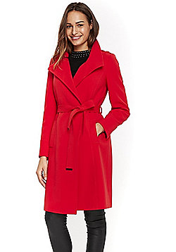 Wallis Funnel Neck Wrap Coat - Red