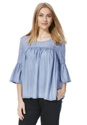 Only Denim Bell Sleeve Swing Top L Light wash