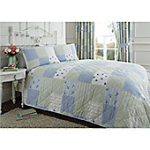 Dreams n Drapes Patchwork Blue Bedspread - King