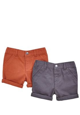 F&F 2 Pack of Twill Turn-Up Shorts Multi 3-6 months