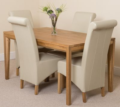 Bevel Solid Oak 150 cm Dining Table with 4 Ivory Montana Chairs