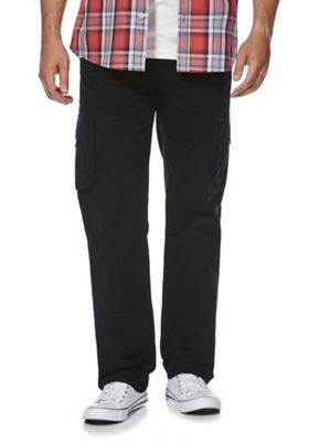 F&F Loose Fit Cargo Trousers Black 34 Waist 32 Leg