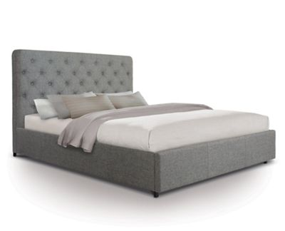 Contemporary Opulent Fabric Front Draw Bed - Small double - Grey