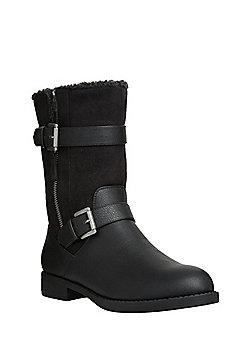 F&F Mid Calf Shower Resistant Biker Boots - Black