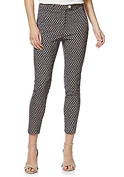 F&F Tile Print Mid Rise Skinny Trousers - Blue & Pink