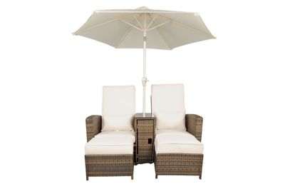 nevada rattan garden furniture 2 sun lounger set and parasol with free parasol dust cover