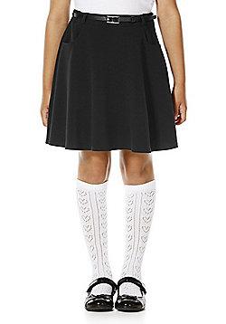 F&F School Girls Flared Soft Touch Premium Skirt with Belt - Black