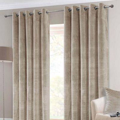 Cream Interlined Velvet Thermal Eyelet Curtain Pair, 90 x 54
