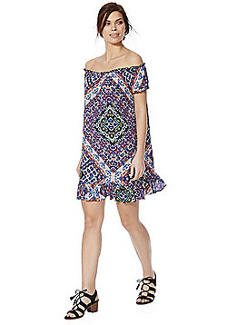 F&F Tile Print Bardot Swing Dress - Multi
