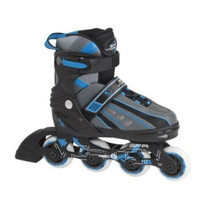 SFR Vortex Boys Adjustable Inline Skates - Black/Blue - Small (junior 8 - Junior 11)