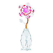 Modern Crystal Glass Floral Ornament with Pink Bud and Golden Inner Stem
