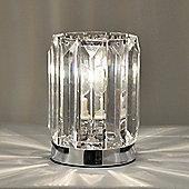 Modern Acrylic Crystal Touch Table Lamp, Chrome & Clear