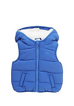 F&F Faux Fur Lined Padded Gilet - Blue