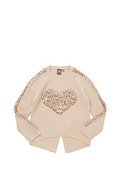 Mini Red Amber Sequinned Heart Jumper - Pink