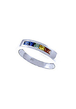QP Jewellers 0.60ct Sapphire Princess Prestige Ring in 14K White Gold