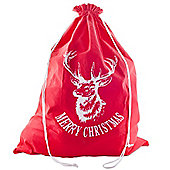 Large Red Fabric Christmas Present Gift Sack with White Stag