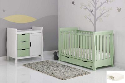 Obaby Stamford Mini Cot Bed 2 Piece + Sprung Mattress Nursery Room Set - Pistachio Cotbed, Pistachio Drawers